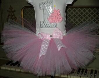 Baby Pink 1st Birthday TUTU set cupcake