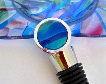 Wine Bottle Stopper - La Mer de Monet:  Tourquoise- Fused Glass 304 Kitchen Grade Stainless Steel