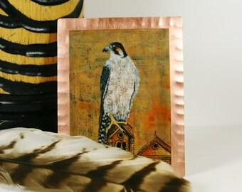Peregrine Falcon Mini Print on Copper