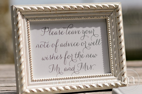 Advice Amp Well Wishes Table Sign Wedding Reception By