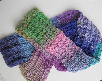 Handknit Scarf, Noro Yarn. Lavender, Purple, Turquoise, Green, Pink