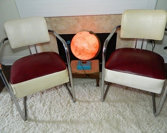 Vintage Pair Art Deco Chrome And Vinyl Cantilever Chairs Pair All Original Kim Weber Style On Sale