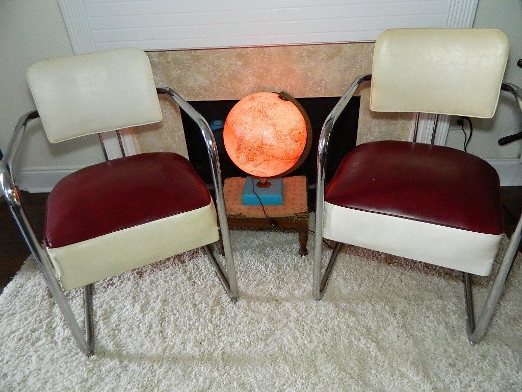 Vintage Pair Art Deco Chrome And Vinyl Cantilever Chairs Pair