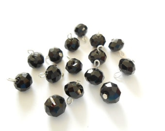 6mm Black Faceted Rondelle Glass Dangle Beads