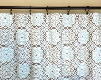 Snowy Blue Medallions Curtains. Window Drapes. All Sizes. Dusty Blue and Brown Curtains. Blooms Drapery.