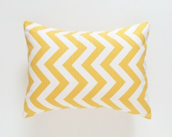 CLEARANCE Yellow Chevron Lumbar Pillow Cover. 12X18 Inches Zig Zag. Decorative Throw Pillow Decor Covers