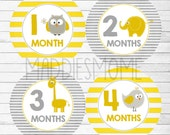 Monthly Baby Stickers Milestone Stickers, Baby Month Stickers, Monthly Bodysuit Sticker, Monthly Stickers Yellow Gray (Neutral Animals YG)