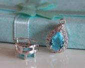 2 Pcs -  Medium Silver Plated Aqua Glass, Cubic Zirconia, Teardrop, Waterdrop Setting, Pendant, Necklace, Earrings, Bridal (15x10MM) 0115MS1