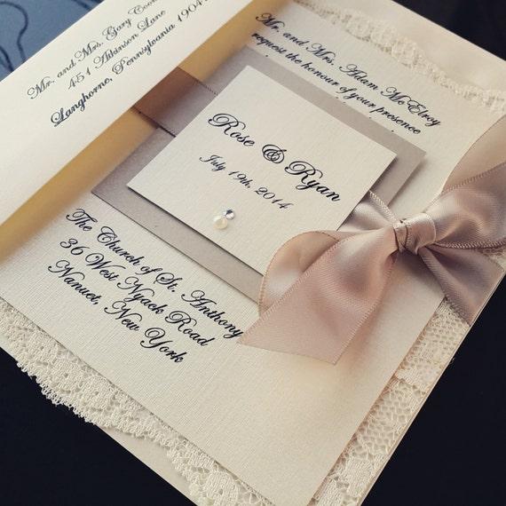 Glamorous Invite, Crystal on Monogram , stunning bow wedding invitation