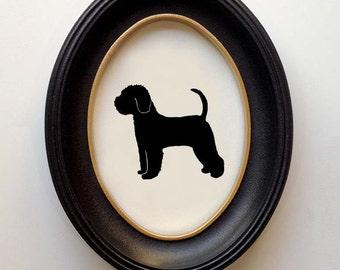 FRAMED Lagotto Romagnolo Silhouette - Hand-cut Original Dog Art Design:DOG-LGR01