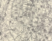 Black/Gray and Cream Paris Map Fabric - Passport by 3 Sisters from Moda - 1/2 Yard