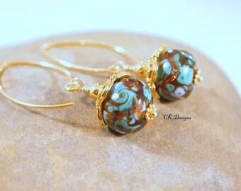 SALE Artisan Lampwork Glass Bead Earrings Vermeil Swarovski Crystals Lampwork Dangle Pierced Earrings. OOAK Handmade Earrings. CKDesigns.US