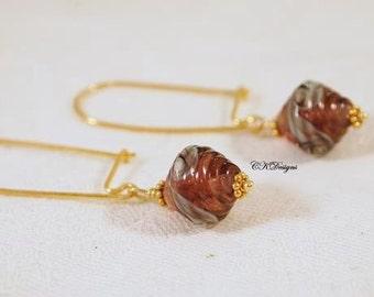 SALE Artisan Lampwork Glass Bead Earrings, Vermeil Lampwork Dangle Pierced Earrings. OOAK Handmade Earrings. CKDesigns.US