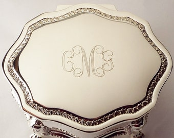 Custom Engraved Personalized Jewelry Box Silver Plated Victorian Design Footed Trinket Box - Hand Engraved
