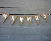 CLEARANCE SALE,Mr and Mrs burlap wedding garland