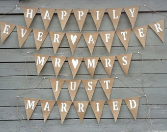 Set of wedding burlap banners, happily ever after, just married, mr and mrs