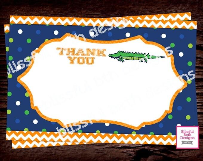GATOR THANK YOU Gator Printable Thank You Notes, Instant Download, Instant Gator Thank You Note, Thank You Note, Gator Note