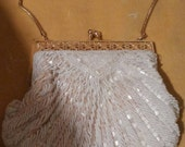 Vintage Pearlized Beaded Purse with Gold Frame