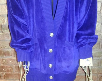 Vintage Velour Royal Blue Cardigan