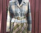 Steampunk Jacket Wool Pendleton with Gray Snakeskin Belt - Upcycled Junk Gypsy Style - Medium