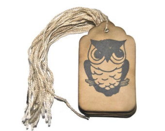 Owl Coffee Stained Stamped Medium Tags. Set of 35. Wishing Tree Tag . Vintage Inspired Tags .primitive . rustic . wedding . gift tags .