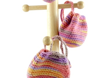 READY TO SHIP Crochet Drawstring Pouch Choose 1 or Save on 3 Piece Matching Set