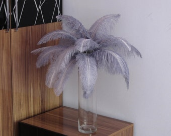 100pcs Silver/pale grey Ostrich Feather Plume for Wedding centerpieces,