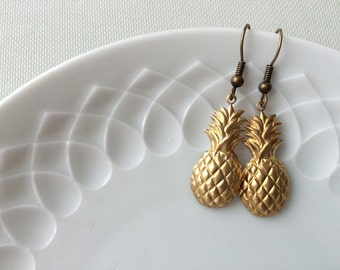 Pineapple earrings,gold,brass,Piña Colada