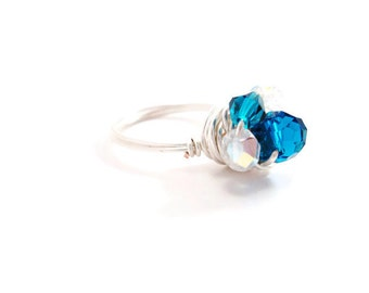 Birds Nest Ring Blue Sterling Silver Wire Wrapped crystal cluster