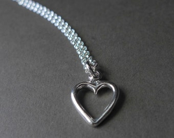 Sterling Silver Heart Pendant. Simple Heart Sterling Silver Necklace.