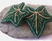 Hand Embroidered Eco Felt Ivy Leaf Hair Barrette Set, Green Gold, Ivy Accessories, Faery, Elven, Woodland Accessories, Avalon