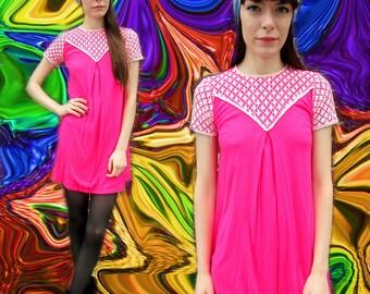 Pink Lace Mini Mod Girly Fucshia Dress