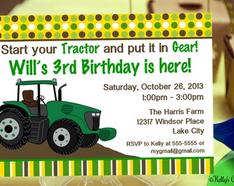 Tractor Birthday Party Invitation.... Custom, Printable, Digital