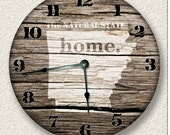 ARKANSAS Home State Wall CLOCK  - Barn Boards pattern  - Natural State - rustic cabin country wall home decor