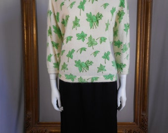 Vintage 1960's Darlene Cream Colored Angora Blend Sweater with a Green Ivy Screen Print - Size 14