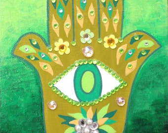 Kerri Ambrosino Mexican Folk  Art PRINT Hand of Fatima Evil Eye Hamsa Judaica Flowers House Money Blessing Protection