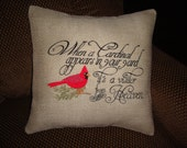 Spiritual Burlap Throw Pillow Cover Red Cardinal Bird Heaven Envelope Pillow Cover Gift Machine Embroidered Grannies Embroidery