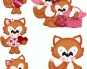 Party Favors Valentines Favors Cupcake Toppers Valentines Favor Bags Valentine's Day Banner Valentines Die Cuts Fox Scrapbook Embellishments