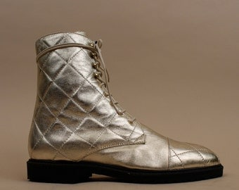 80s 90s Vtg Quilted Soft LEATHER METALLiC Lace Up Ankle Boots / Italian BALMAIN-Esque Shoes / Deadstock Mint! / Grunge Punk 9.5 10 Eu 41