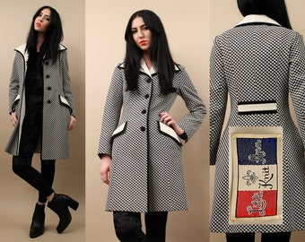 60s 70s rare Lilli Ann Knit CHECKER Spy Coat / Huge Collar Black + White MOD Garage Go Go Polyester Jacket / Xs - Small