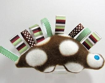 Brown Dinosaur Soft Plush Rattle Crinkle Ribbon Tag Toy