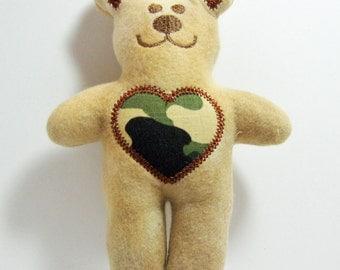 Teddy Bear Camo Heart Rattle Tag Toy