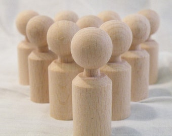 60mm tall straight shaped x 10 unfinished wooden peg dolls for crafting