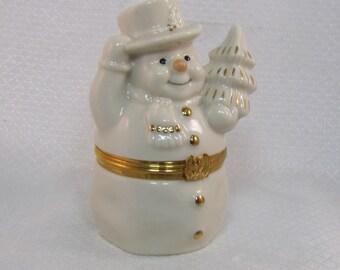 Lenox Treasures The Snowman's Surprise Box, Trinket Box