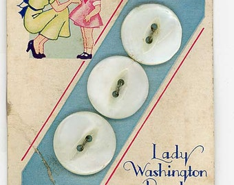 3 Mother of Pearl Shell Sewing Buttons 3/4 inch 19mm Lady Washington Pearls Card