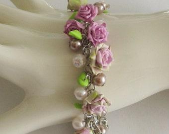Rose garden bracelet - Custom polymer clay handmade rose buds bracelet - Polymer clay rose bracelet