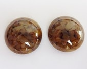 2 glass cabochons, Ø18mm, marbled brown, round