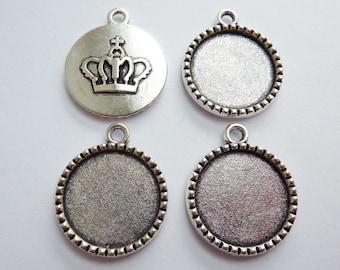 4 cabochon settings, Ø18mm, antique silver