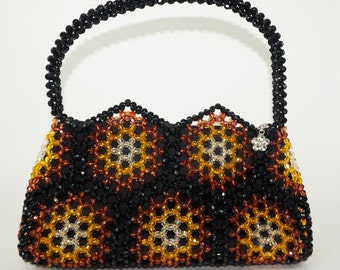 Beaded Handbag, Brown and Black Handbag, Elegant Handbag, Beaded Purse, Beadwork Purse, Honeycomb Purse, Faceted Beads Purse, Unique Purse