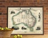 "Old map of Australia - Antique Australia  map Print - 16 x 21 """